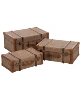 Set de 3 coffres en rotin antique